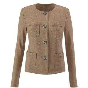 Cabi Penny Blazer Jacket Brown Herringbone Sz M